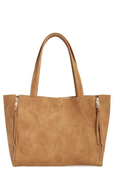 zip detail faux leather tote