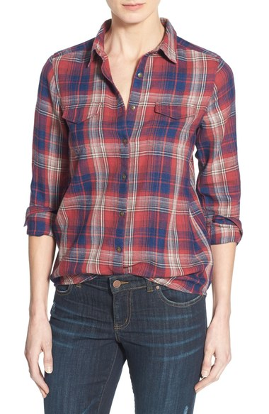 flap pocket plaid shirt